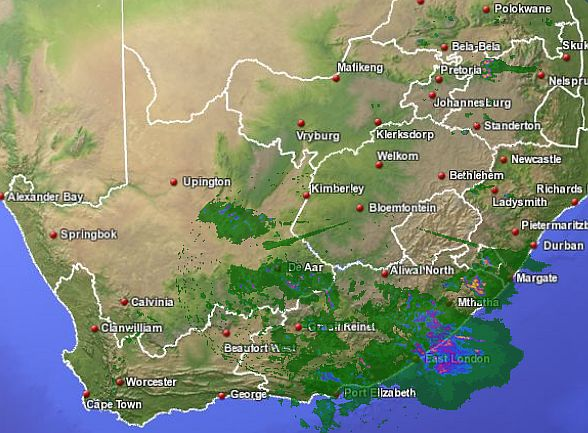 s a weather and disaster information service south africa sa weather radar map 25 december 2011. Black Bedroom Furniture Sets. Home Design Ideas