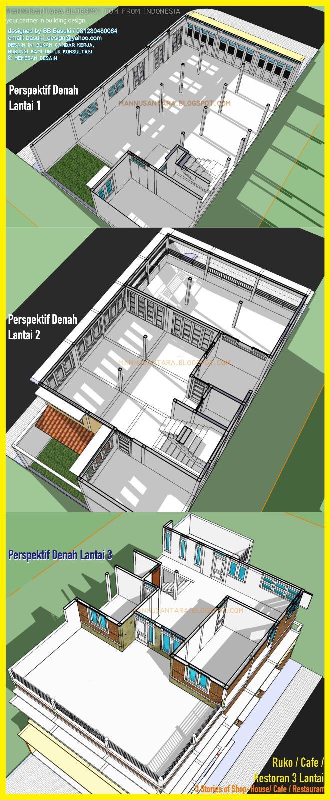 Desain ruko lantai multifungsi untuk cafe dan restoran