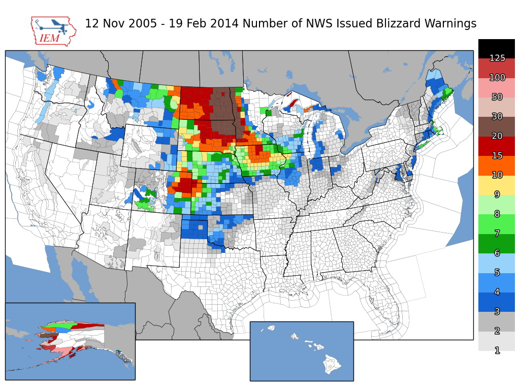 Blizzard warnings per US county over the last 10 years