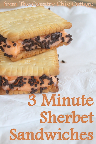Orange Sherbet Ice Cream Sandwiches -- use 3 ingredients to make these sandwiches for your family in a jiffy!