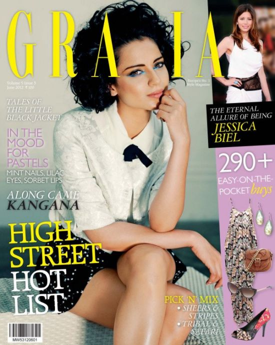 Kangana Ranaut looking super sleek and stylish for  Grazia INdia - Kangana Ranaut on GRAZIA INDIA cover JUNE 2012