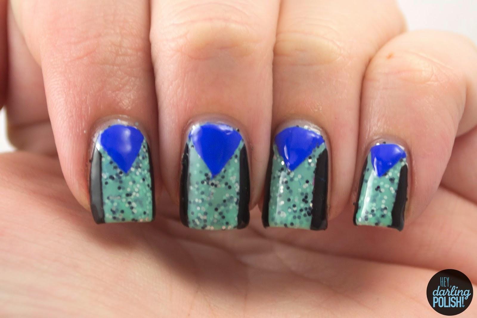 nails, nail art,  nail polish, polish, the never ending pile challenge, green, blue, black, hey darling polish, challenge