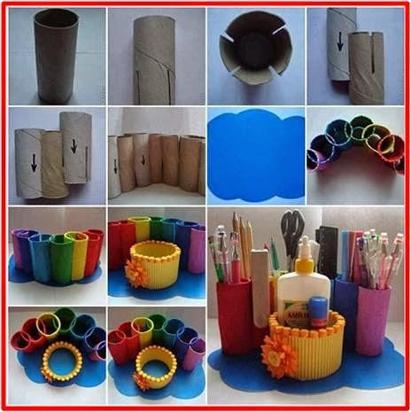 aprende a hacer un colorido organizador de escritorio utilizando tubos de cartn pueden ser los de papel higinico