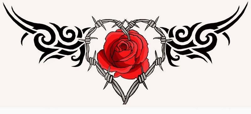Lower back rose tribal tattoo stencil