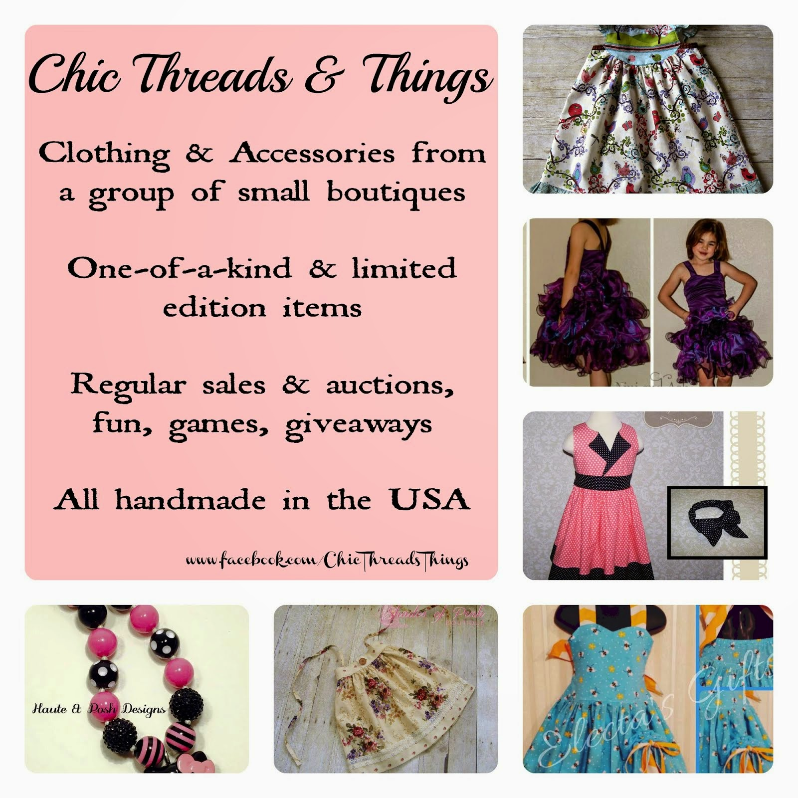 I also sell my beautiful sewing creations at Chic Threads & Things!