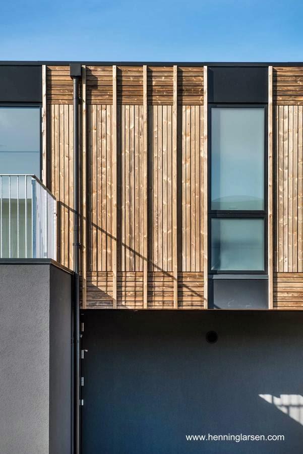 Vista en detalle de un sector de la fachada de la casa adaptable
