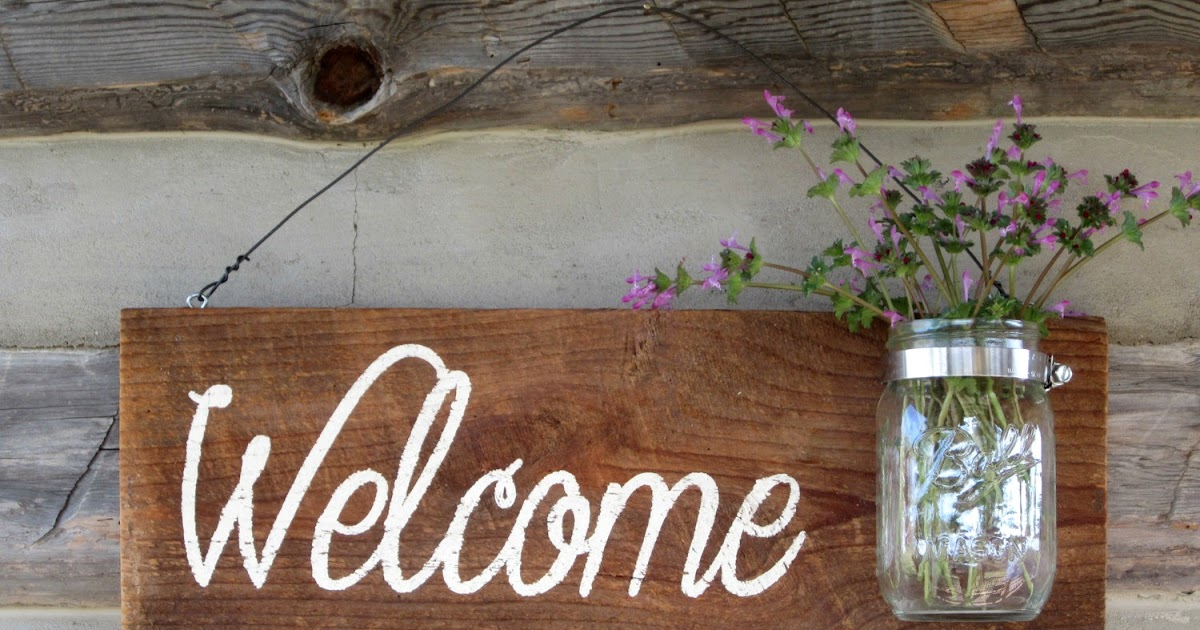 Simply Country Life Rustic Barnwood Mason Jar Welcome Sign