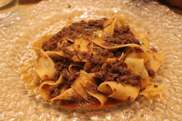 Tagliatelle with wild boar ragu at Coquinarius, Florence, Italy