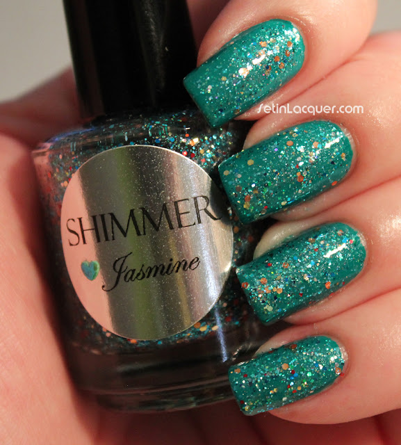 Shimmer Polish Jasmine over Color Club Wild Cactus