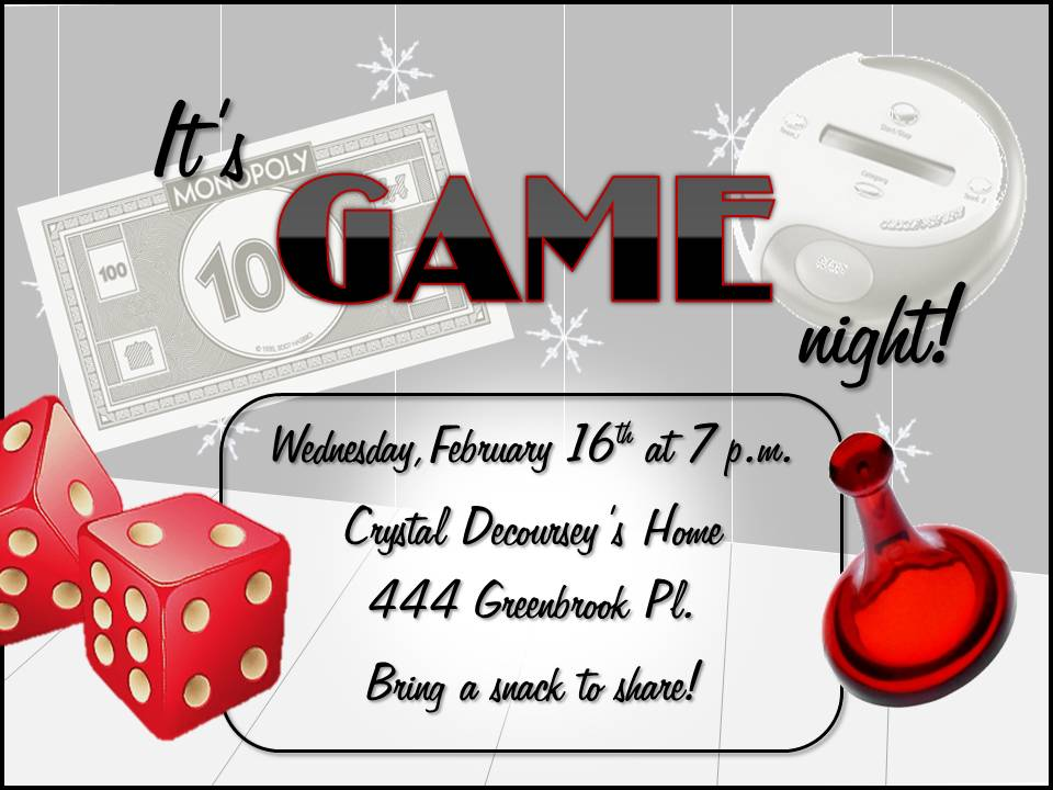 Meadow Springs February Game Night Double Click On Flyer Below To