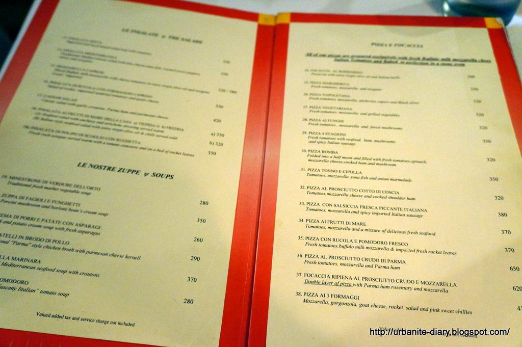 Bangkok 124 zanotti italian restaurant sassy urbanite - Italian cuisine menu list ...