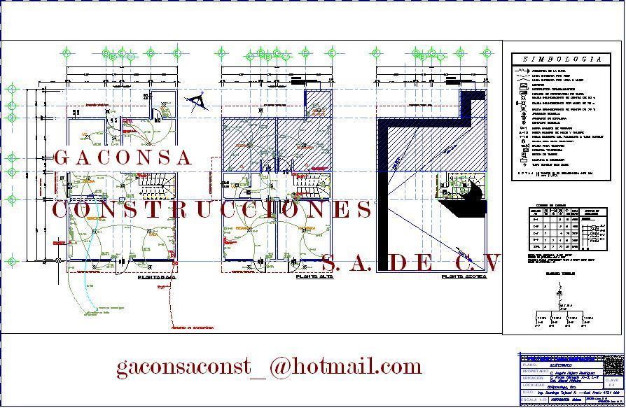 Planos ejecutivos de casa habitaci n construida en la for Plano instalacion electrica