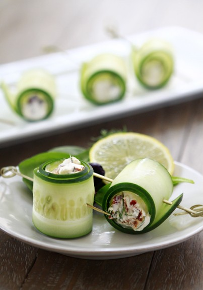 Cucumber Feta Rolls: create a feta cheese, bacon bits (optional) and ...