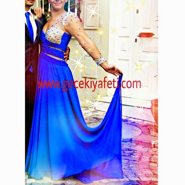 mavi gece elbiseleri