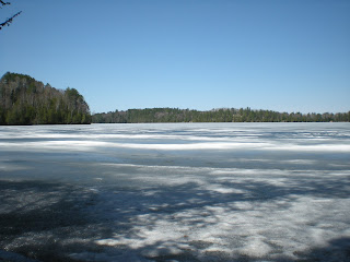 Still lots of ice, day before opening fishing in Ely