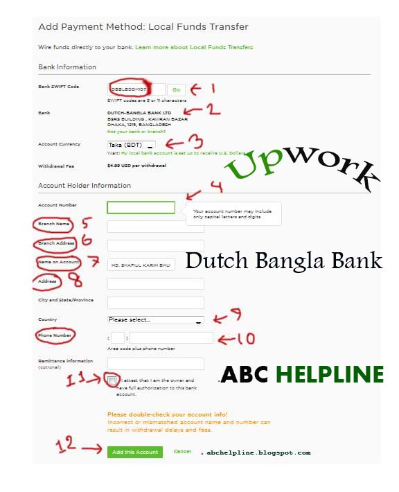 How to add Dutch-Bangla Mobile Bank A/C in Upwork.