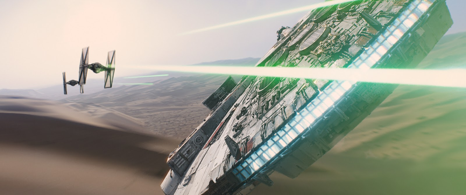 Star Wars: The Force Awakens Millennium Falcon vs Tie Fighters over Tatooine