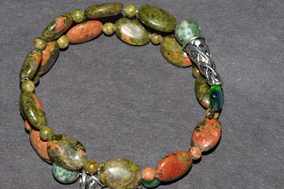 Unakite and Memory Wire Accent Bracelet