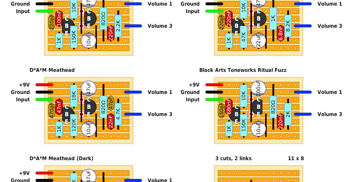 guitar fx layouts: 1-knob fuzz bonanza, Wiring schematic