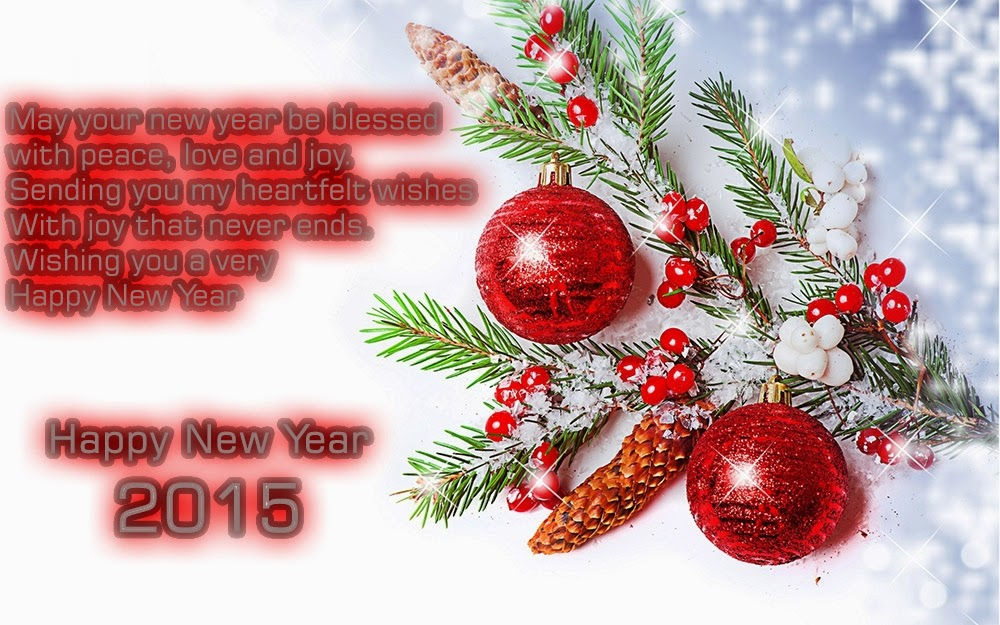 Christmas Tree Balls New Year 2015 Greeting Wishes eCard