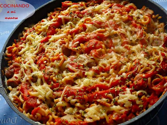 receta Fideos con Salchichas, Beicon y Queso