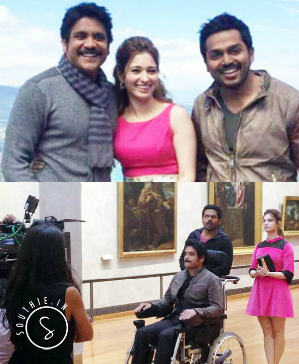 Nagarjuna plays a quadriplegic in this movie. Nagarjuna, Karthi and Tamannah.
