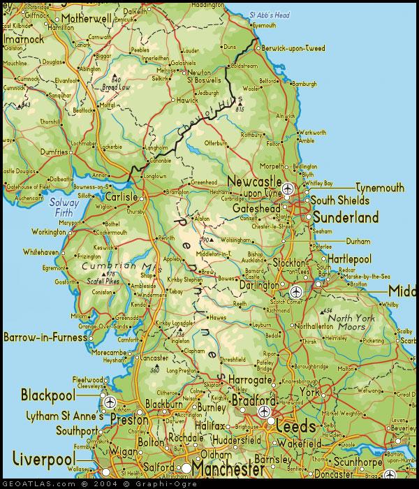 north england regions map