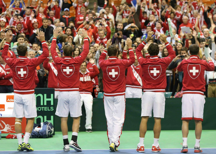 From left to right: Marco Chiudinelli, Michael Lammer, Stanislas Wawrinka, Roger Federer and Severin Lüthi (Team Captain) • Tennis Players