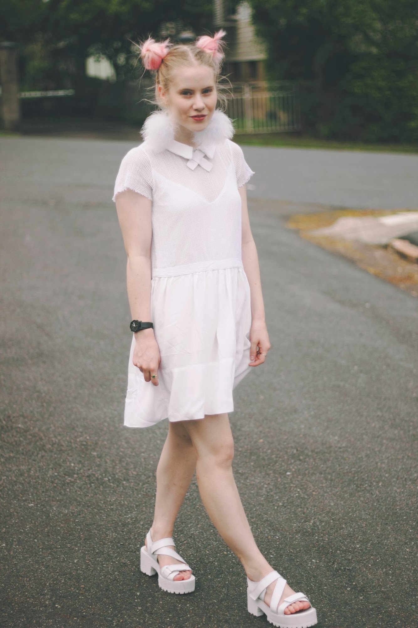 OOTD, Blogger white outfit, white OOTD, white nasty gal dress, white mesh dress, white chunky sandals, pink double buns