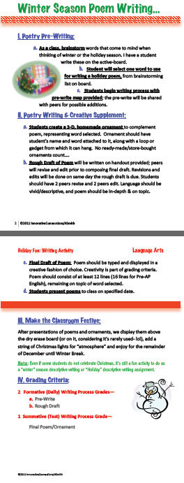 "writing activity to go along with the Christmas or ""Winter"" season"