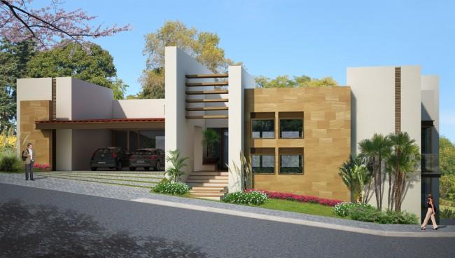 Fachadas de casas modernas renders 3d de fachadas de for Render casa minimalista