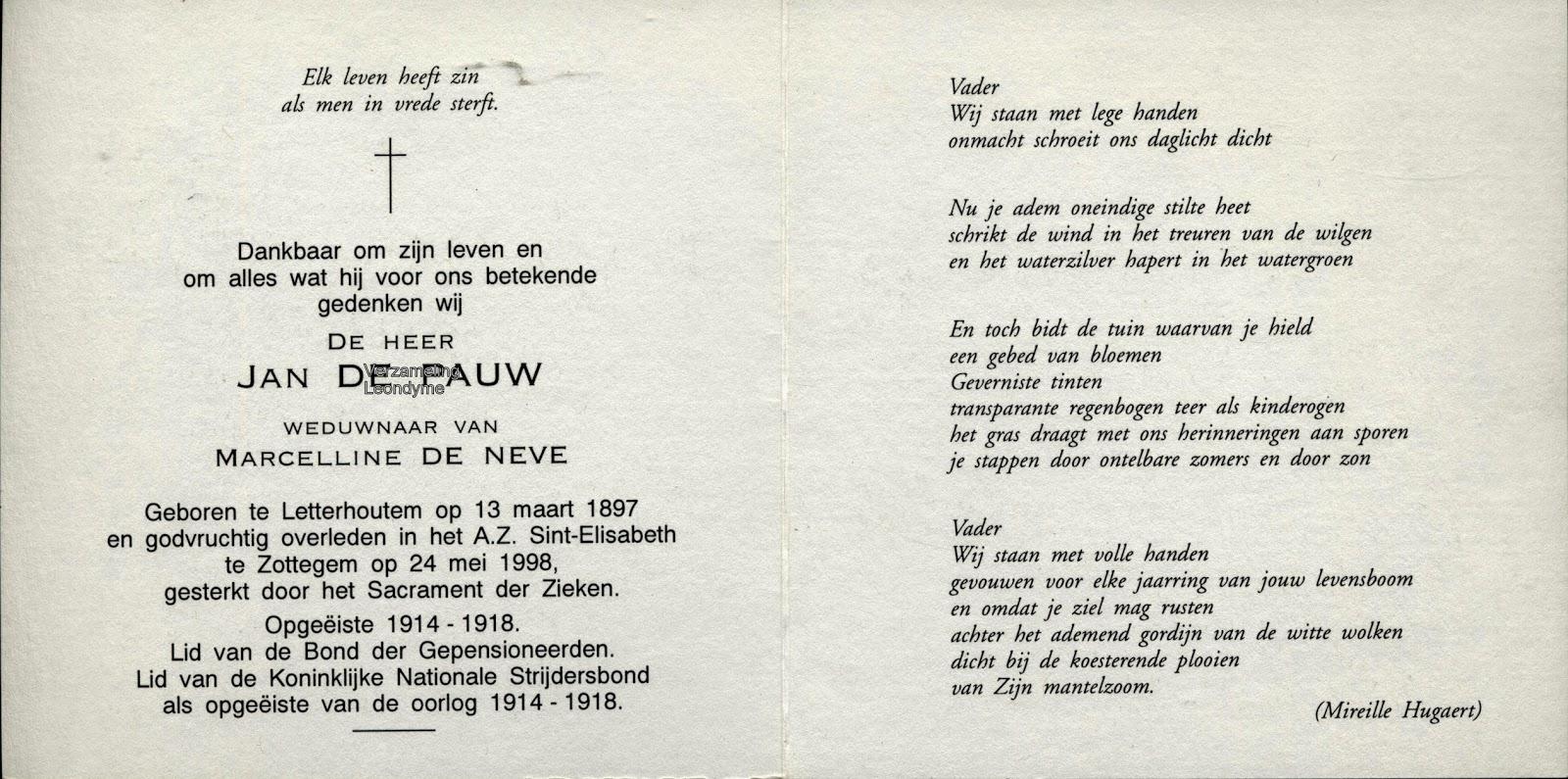 Bidprentje, opgeëiste Jan De Pauw 1897-1998, Wereldoorlog 1914-1918. Verzameling Leondyme.