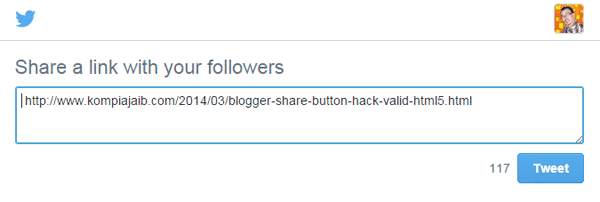 Tweet Button Blogger With Text, Via, And Related No Javascript