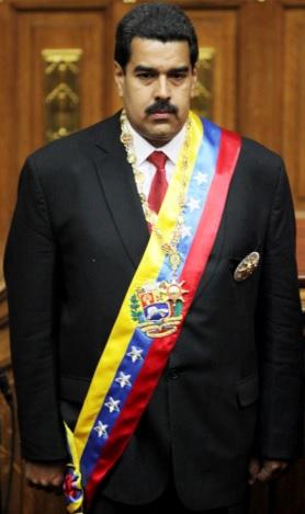 Nicolás Maduro con la banda Presidencial de Venezuela