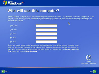 windows XP installation