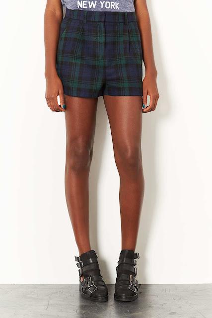 blue tartan shorts