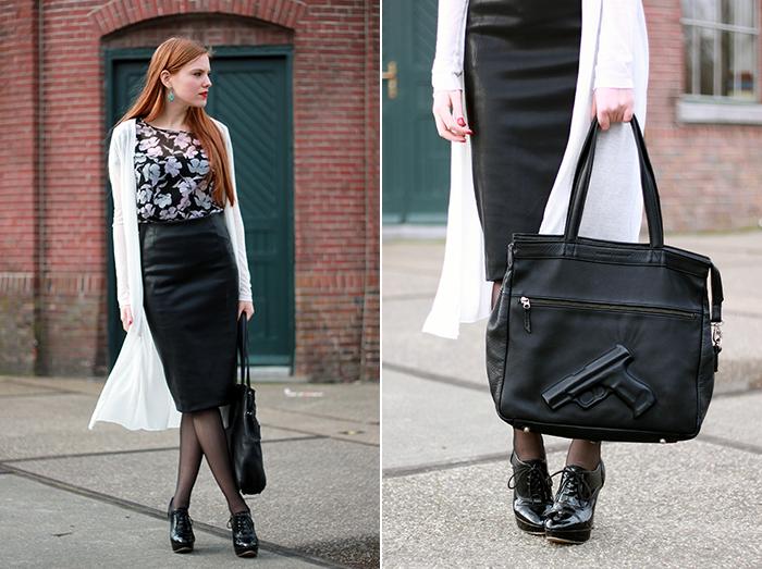 Fashion blogger outfit ootd amsterdam nederland mode vintage retro midi leer leather