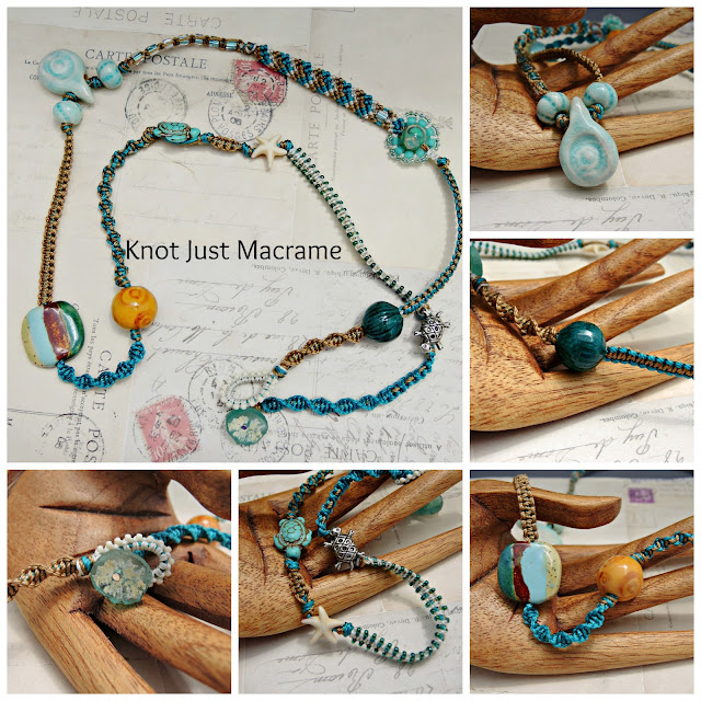 Micro Macrame wrap bracelet by Sherri Stokey with artists beads