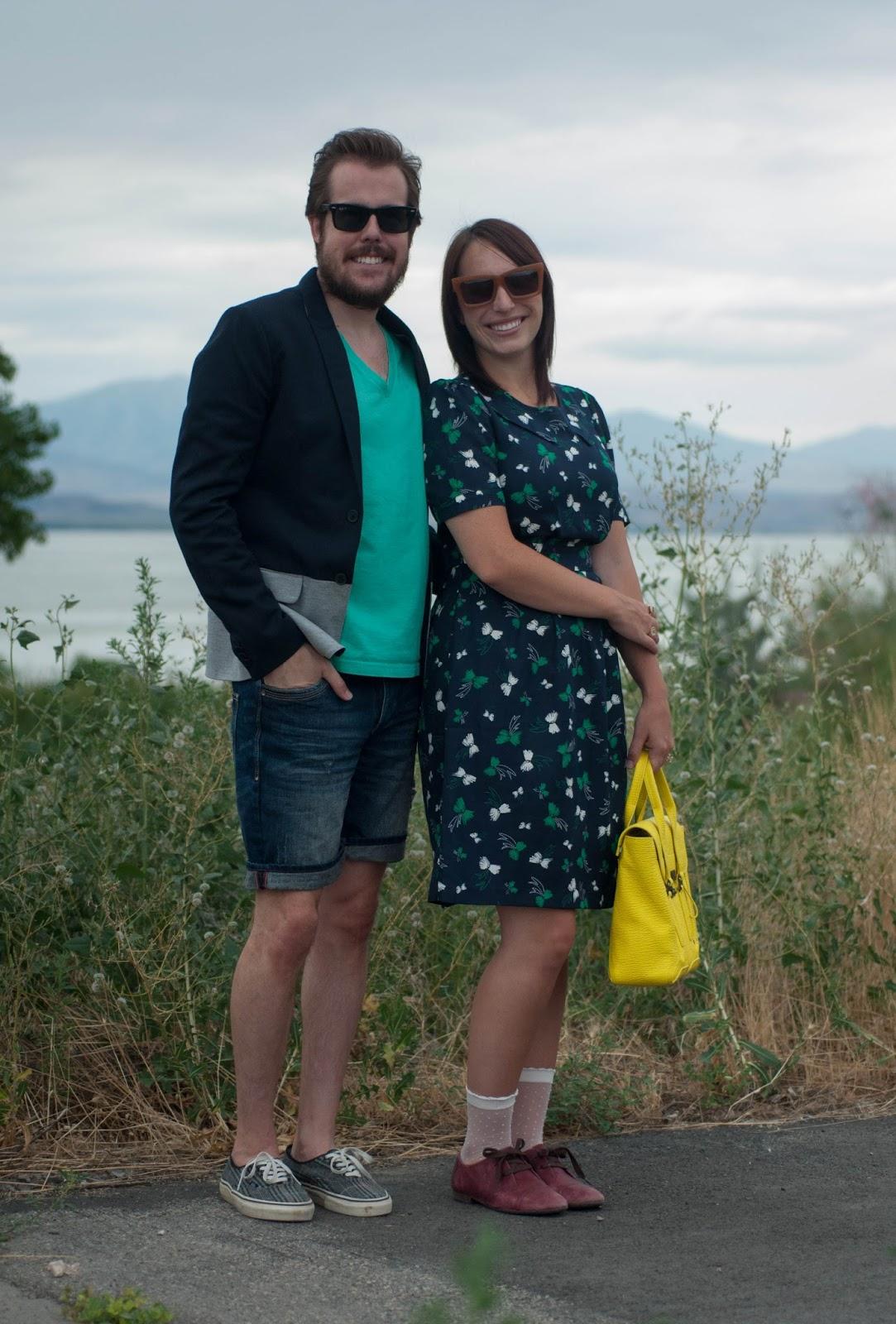 style blog, couples style, ootd, zara, karen walker, karen walker bow dress, karen walker sunglasses, ray ban sunglasses