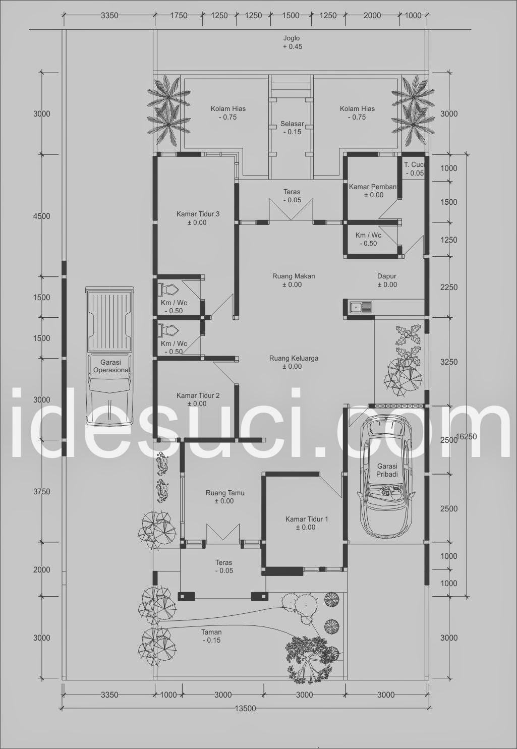 Denah Rumah 1 Lantai Tipe 140jpg