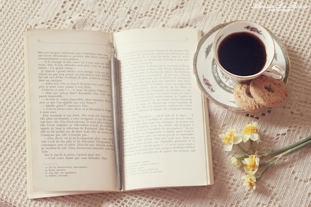 coffee,book and flowers