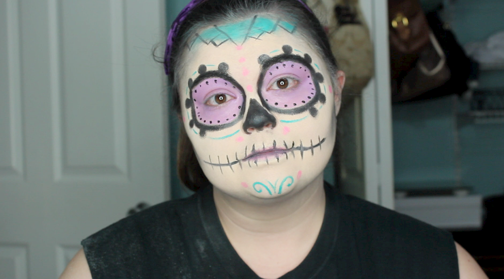 day of the dead, easy sugar skull, halloween makeup, halloween makeup tutorial, halloween tutorial, pretty skull makeup, skull makeup, sugar skull, sugar skull halloween makeup., sugar skull makeup,