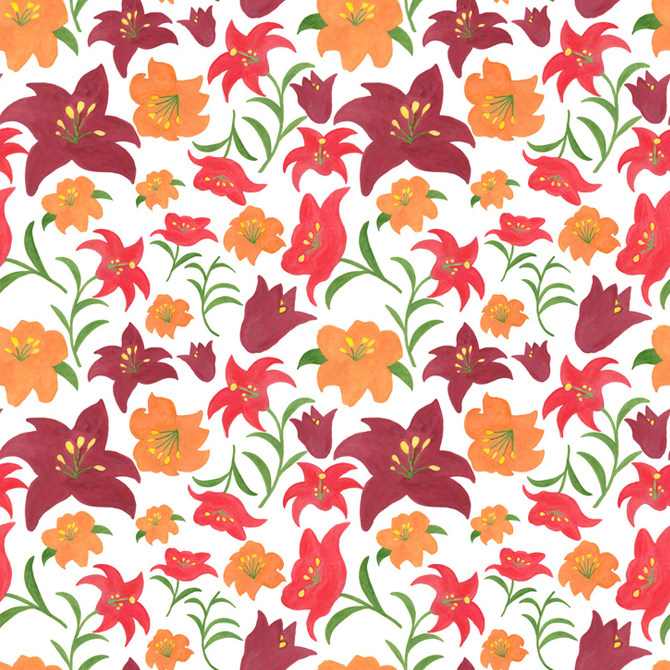 The Lilies in Red Pattern Printed on Merchandise Illustration by Haidi Shabrina