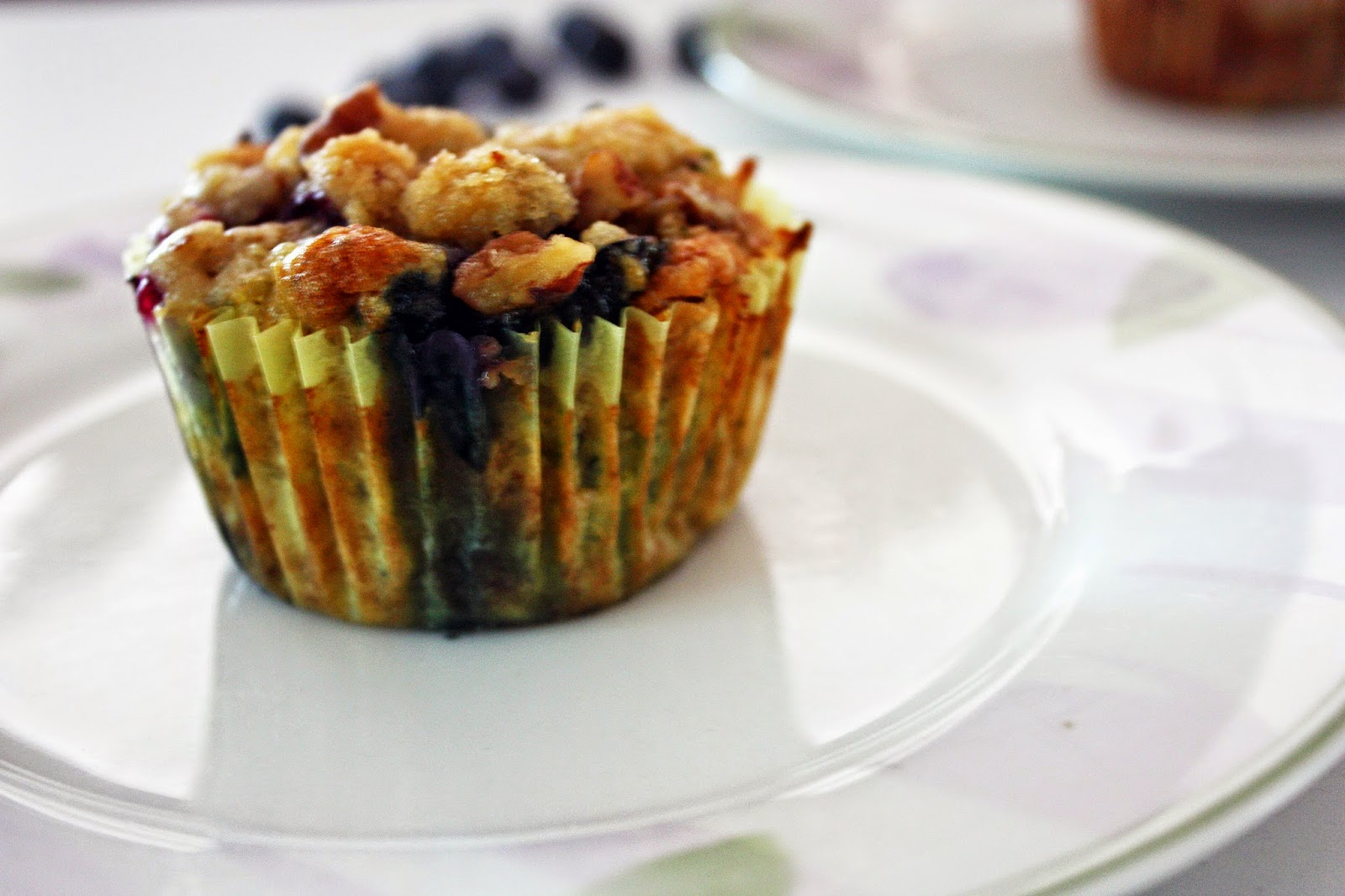 vegan lemon blueberry zucchini muffins with pecan streusel
