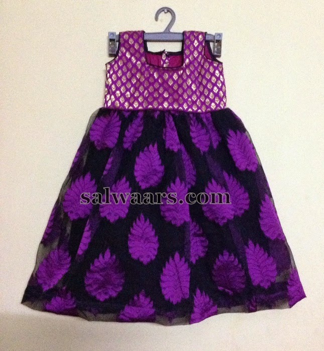 Purple Frock with Floral Design