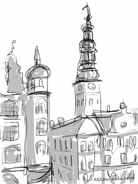 Nikolaj church in Copenhagen. A sketch drawn on iPad by Artmagenta.