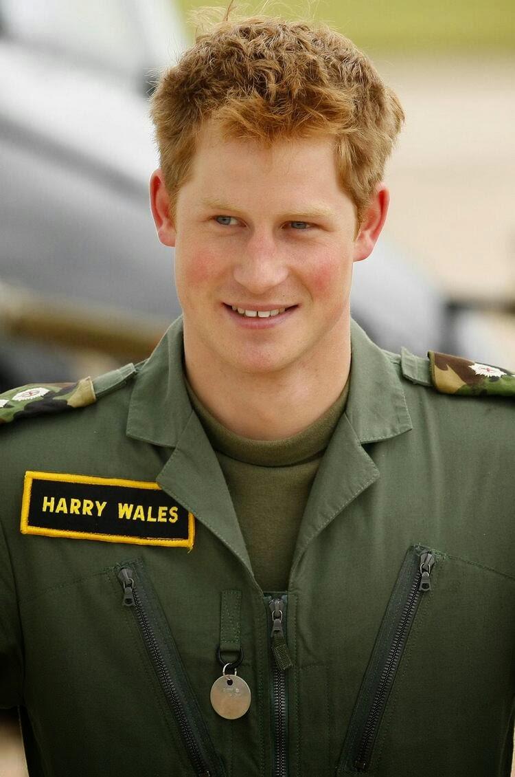 Гарри улыбается на фотосессии в аэропорту ВВС Великобритании