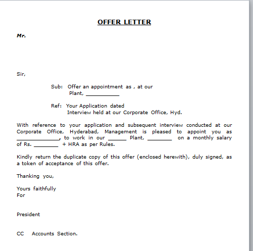 Job Offer Letter Format Free Download