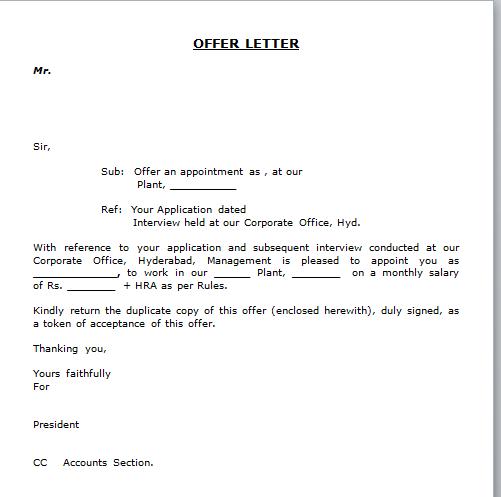 Salary Offer Letter Format Letter Format 2017