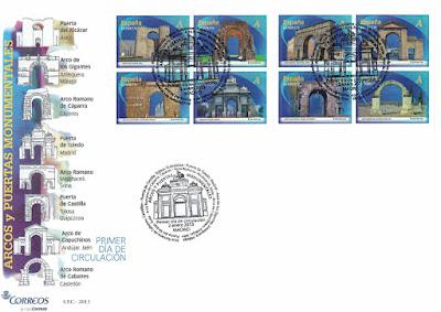 Sobre Primer Día de Circulación de los sellos de Arcos y Puertas Monumentales 2013